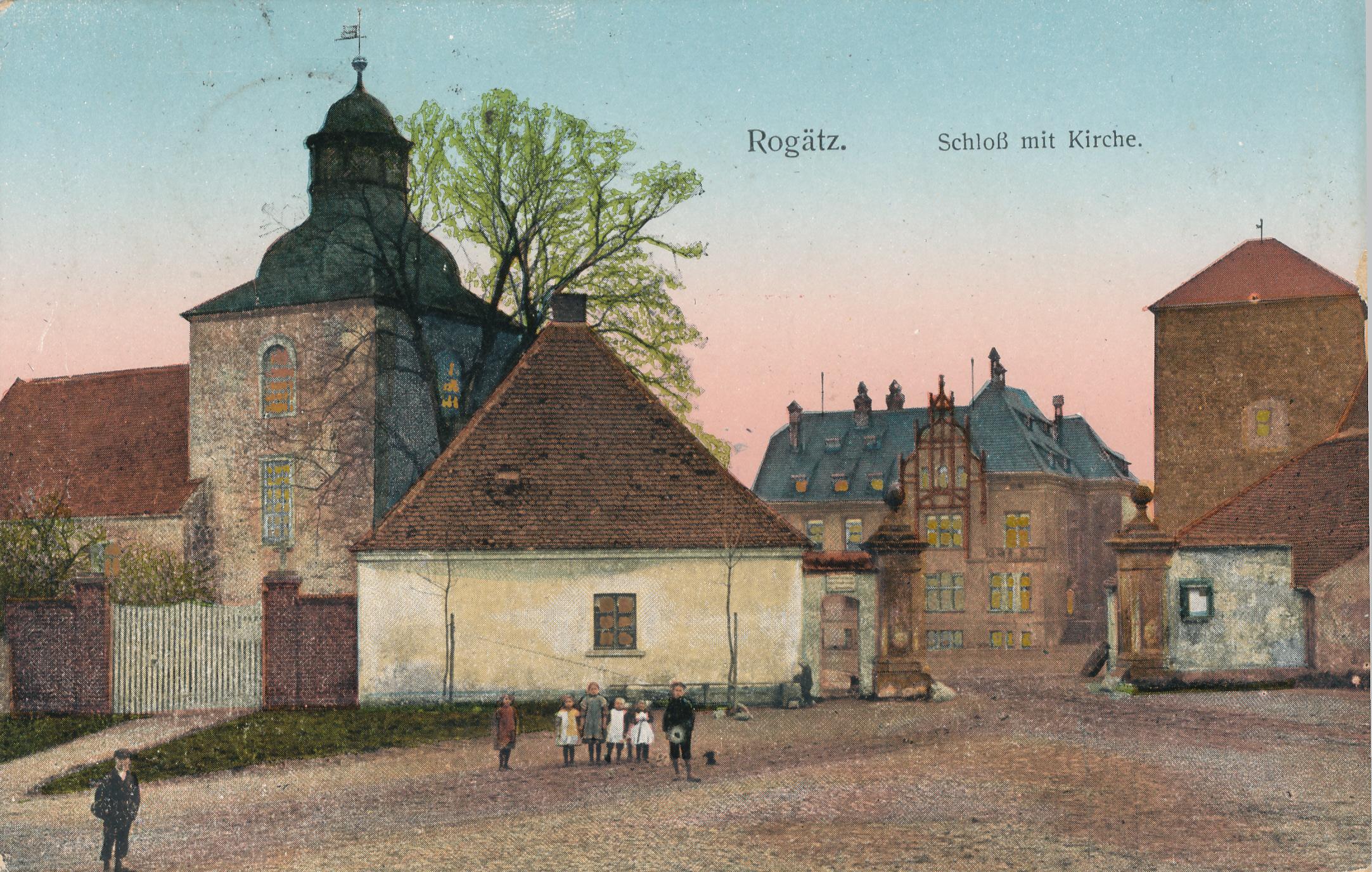 """Kirche Rogaetz,  """"Tintenfass"""" und Klutturm 1939"""